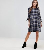 photo Check Embroidered Smock Dress by New Look Maternity, color Blue Pattern - Image 4