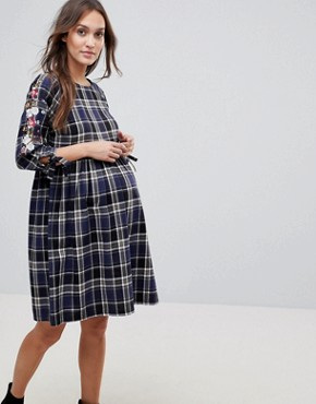 photo Check Embroidered Smock Dress by New Look Maternity, color Blue Pattern - Image 1
