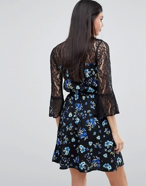photo Lace Yoke and Sleeve Floral Skater Dress by Influence Tall, color Black Floral - Image 2