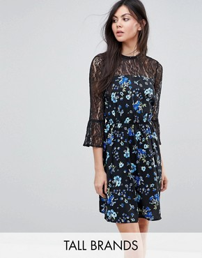 photo Lace Yoke and Sleeve Floral Skater Dress by Influence Tall, color Black Floral - Image 1