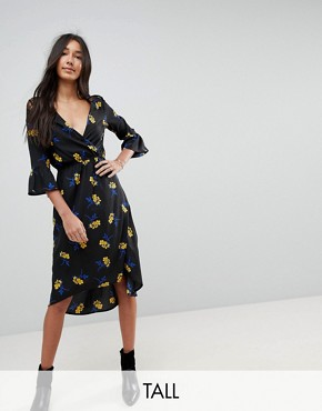 photo Lace Insert Floral Wrap Midi Dress with Frill Sleeves by Influence Tall, color Black Floral - Image 1