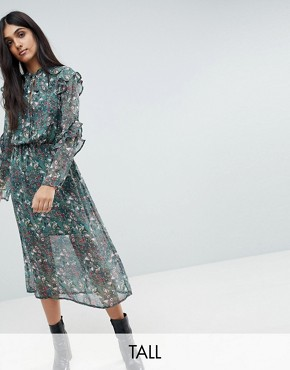photo Keyhole Frill Sleeve Floral Midi Dress by Influence Tall, color Multi - Image 1