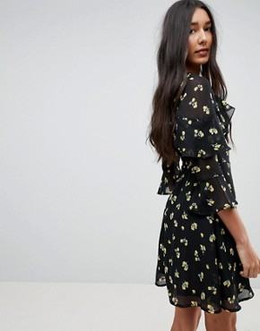 photo Floral Hook and Eye Front Skater Dress by Influence Tall, color Black Floral - Image 2