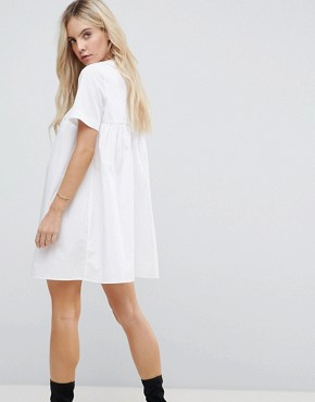 photo Smock Dress with Eyelet Detail and Grosgrain Tie by ASOS PETITE, color White - Image 2