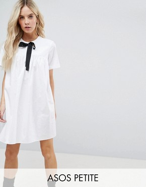 photo Smock Dress with Eyelet Detail and Grosgrain Tie by ASOS PETITE, color White - Image 1