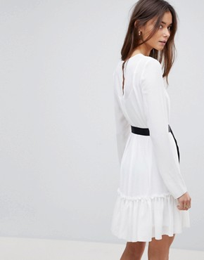 photo Long Sleeve Pep Hem Mini Dress with Belt by ASOS TALL, color White/Black - Image 2
