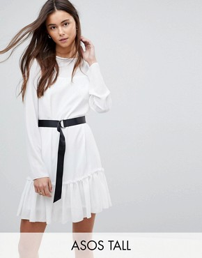 photo Long Sleeve Pep Hem Mini Dress with Belt by ASOS TALL, color White/Black - Image 1