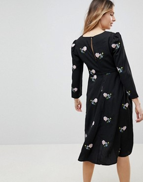 photo Floral Embroidered Midi Tea Dress by ASOS Maternity, color Black - Image 2