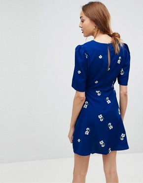 photo Floral Embroidered Mini Tea Dress by ASOS DESIGN Tall, color Multi - Image 2