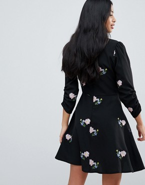 photo Floral Embroidered Mini Tea Dress by ASOS DESIGN Petite, color Black - Image 2