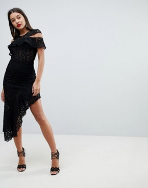 photo Cold Shoulder Asymmetric Lace Bodycon Midi Dress by ASOS DESIGN, color Black - Image 1