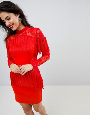 photo Fringe Long Sleeve Lace Mini Dress by ASOS ULTIMATE, color Red - Image 1
