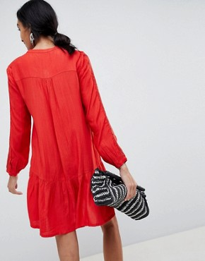 photo Collarless Shirt Dress by b.Young, color Tomato Red - Image 2