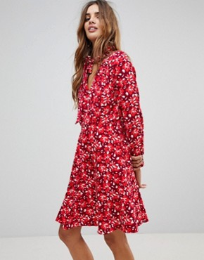 photo Floral Dress with Scarf by Trollied Dolly, color Burgandy - Image 1