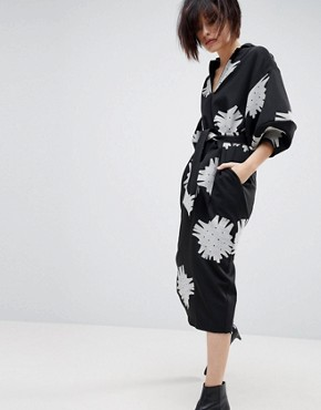 photo Mono Floral Bell Sleeve Midi Dress by ASOS WHITE, color Black/White - Image 1