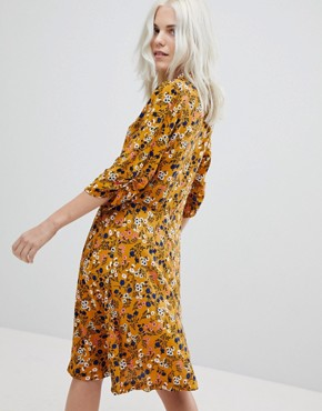photo Floral Tea Dress by Trollied Dolly, color Mustard - Image 2