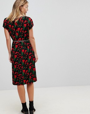 photo Floral Print Pencil Dress by Trollied Dolly, color Black - Image 2