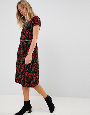 photo Floral Print Pencil Dress by Trollied Dolly, color Black - Image 1