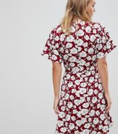 photo Boho Floral Skater Dress by Trollied Dolly, color Burgandy - Image 2