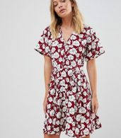 photo Boho Floral Skater Dress by Trollied Dolly, color Burgandy - Image 1