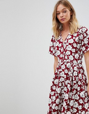 photo Boho Floral Skater Dress by Trollied Dolly, color Burgandy - Image 3