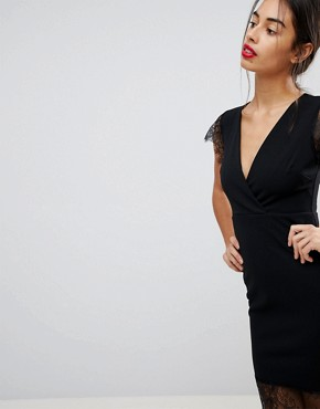 photo Pencil Dress with V-Neck and Lace Sleeves and Hem by ASOS PETITE, color Black - Image 3