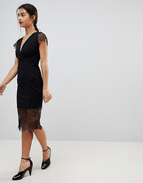 photo Pencil Dress with V-Neck and Lace Sleeves and Hem by ASOS PETITE, color Black - Image 4