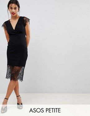 photo Pencil Dress with V-Neck and Lace Sleeves and Hem by ASOS PETITE, color Black - Image 1