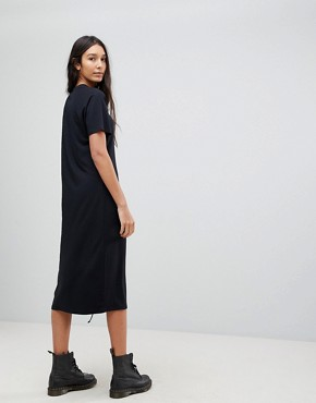 photo Midi T-Shirt Dress with Lace Up by ASOS TALL, color Black - Image 2
