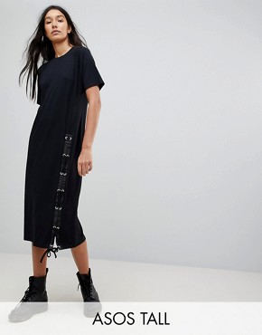 photo Midi T-Shirt Dress with Lace Up by ASOS TALL, color Black - Image 1