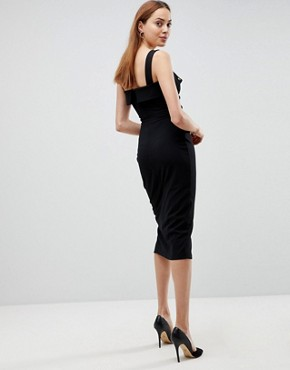 photo Midi Dress with Button Details by ASOS TALL, color Black - Image 2