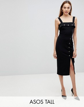 photo Midi Dress with Button Details by ASOS TALL, color Black - Image 1