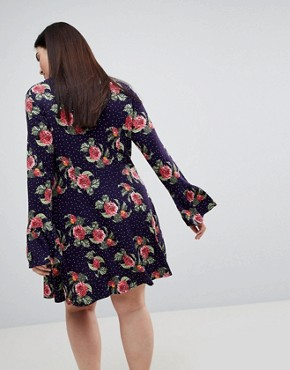 photo Mini Dress with Hanky Hem and Frill Cuff in Spot Floral Print by ASOS CURVE, color Multi - Image 2