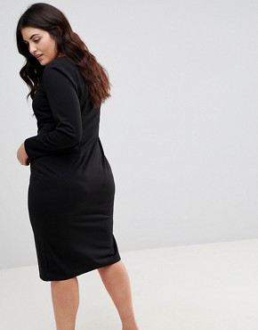 photo Midi V-Neck Pencil Dress with Long Sleeves by ASOS CURVE, color Black - Image 2