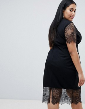 photo Pencil Dress with V-Neck and Lace Sleeves and Hem by ASOS DESIGN Curve, color Black - Image 2