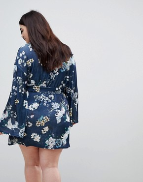 photo Kimono Sleeve Bird Print Mini Dress with Self Fringe Belt by ASOS CURVE, color Multi - Image 2