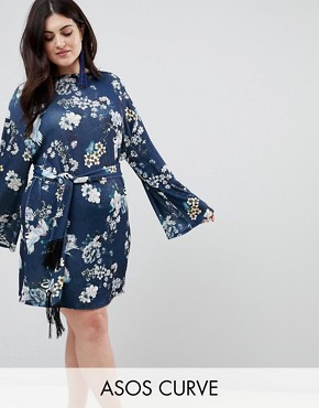 photo Kimono Sleeve Bird Print Mini Dress with Self Fringe Belt by ASOS CURVE, color Multi - Image 1