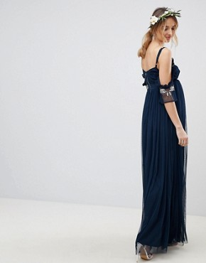 photo Cold Shoulder Sequin Detail Tulle Maxi Dress with Ruffle Detail by Maya Maternity, color Navy - Image 2