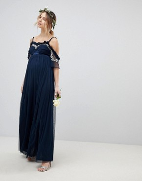 photo Cold Shoulder Sequin Detail Tulle Maxi Dress with Ruffle Detail by Maya Maternity, color Navy - Image 1