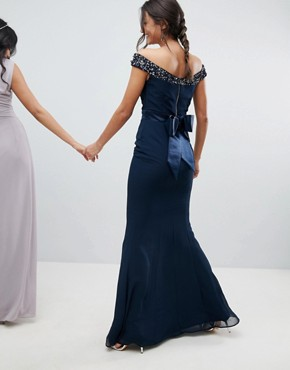 photo Bardot Sequin Detail Maxi Dress with Bow Back Detail by Maya Tall, color Navy - Image 2