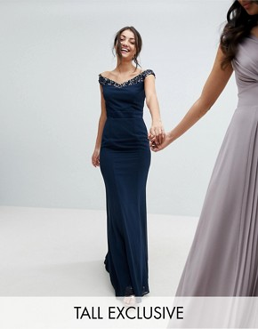 photo Bardot Sequin Detail Maxi Dress with Bow Back Detail by Maya Tall, color Navy - Image 1
