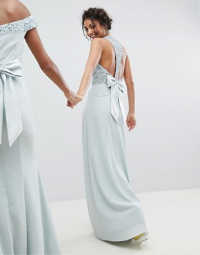 photo Sleeveless Sequin Bodice Maxi Dress with Cutout and Bow Back Detail by Maya Tall, color Ice Blue - Image 2