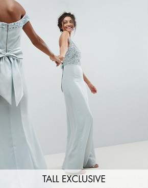 photo Sleeveless Sequin Bodice Maxi Dress with Cutout and Bow Back Detail by Maya Tall, color Ice Blue - Image 1