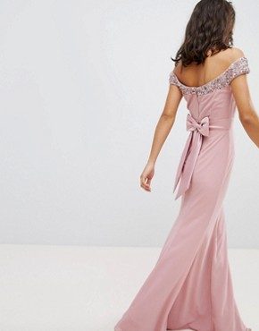 photo Bardot Sequin Detail Maxi Dress with Bow Back Detail by Maya Petite, color Vintage Rose - Image 2