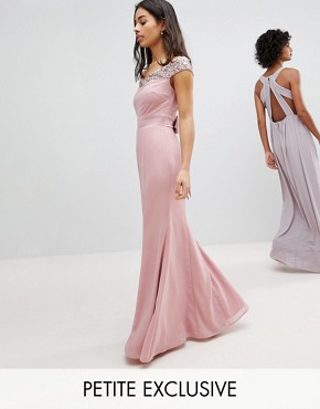 photo Bardot Sequin Detail Maxi Dress with Bow Back Detail by Maya Petite, color Vintage Rose - Image 1