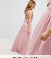 photo Sleeveless Sequin Bodice Maxi Dress with Cutout and Bow Back Detail by Maya Petite, color Vintage Rose - Image 1