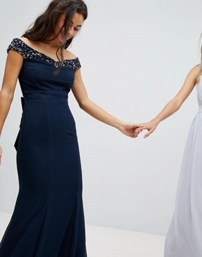 photo Bardot Sequin Detail Maxi Dress with Bow Back Detail by Maya Petite, color Navy - Image 2