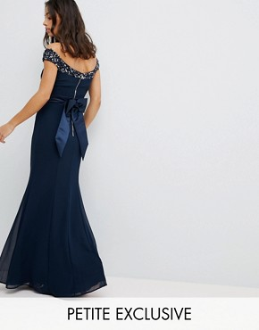 photo Bardot Sequin Detail Maxi Dress with Bow Back Detail by Maya Petite, color Navy - Image 1