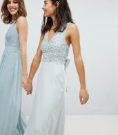 photo Sleeveless Sequin Bodice Maxi Dress with Cutout and Bow Back Detail by Maya Petite, color Ice Blue - Image 2