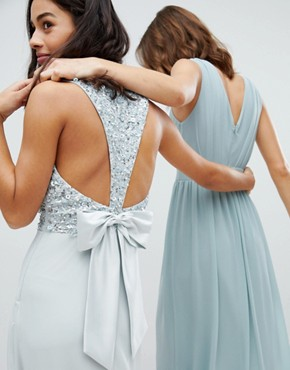 photo Sleeveless Sequin Bodice Maxi Dress with Cutout and Bow Back Detail by Maya Petite, color Ice Blue - Image 3